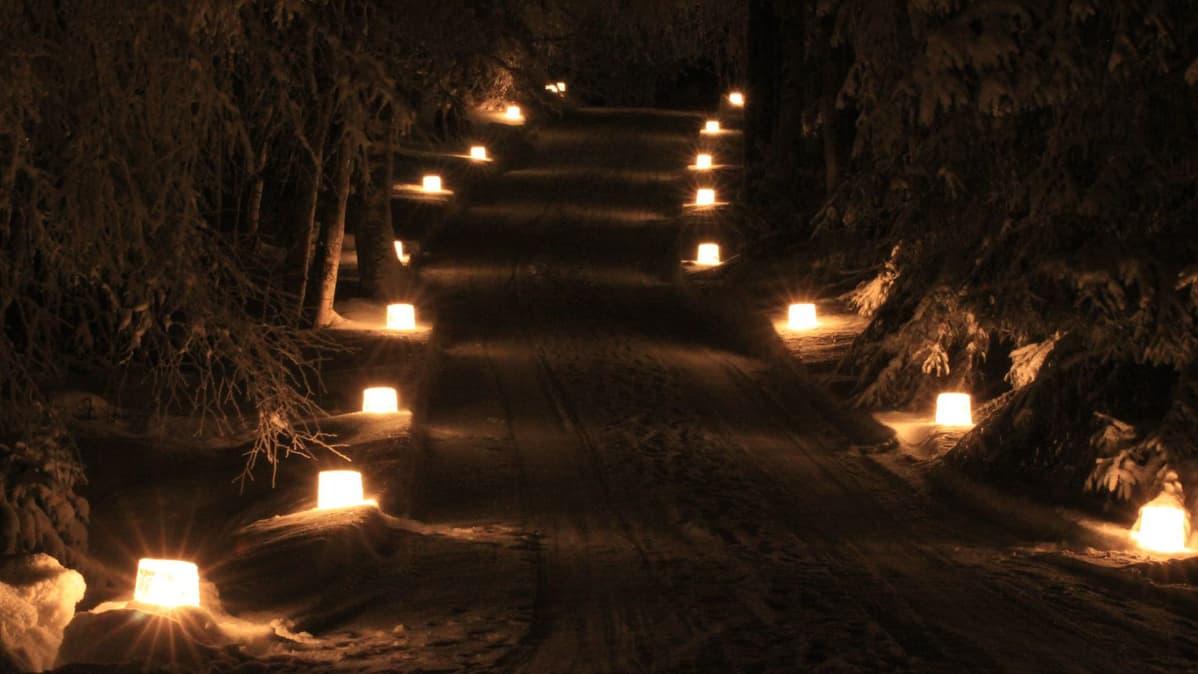 Jäälyhtyjä pimeällä pienellä tiellä