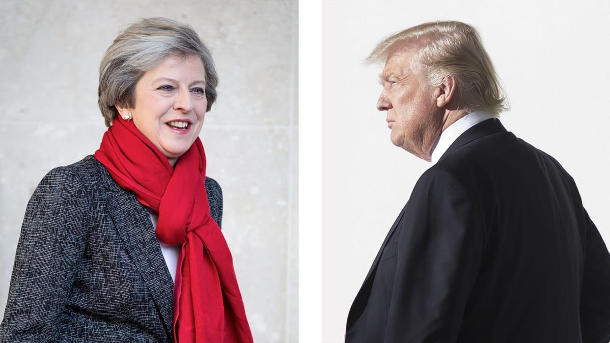 Theresa May ja Donald Trump.