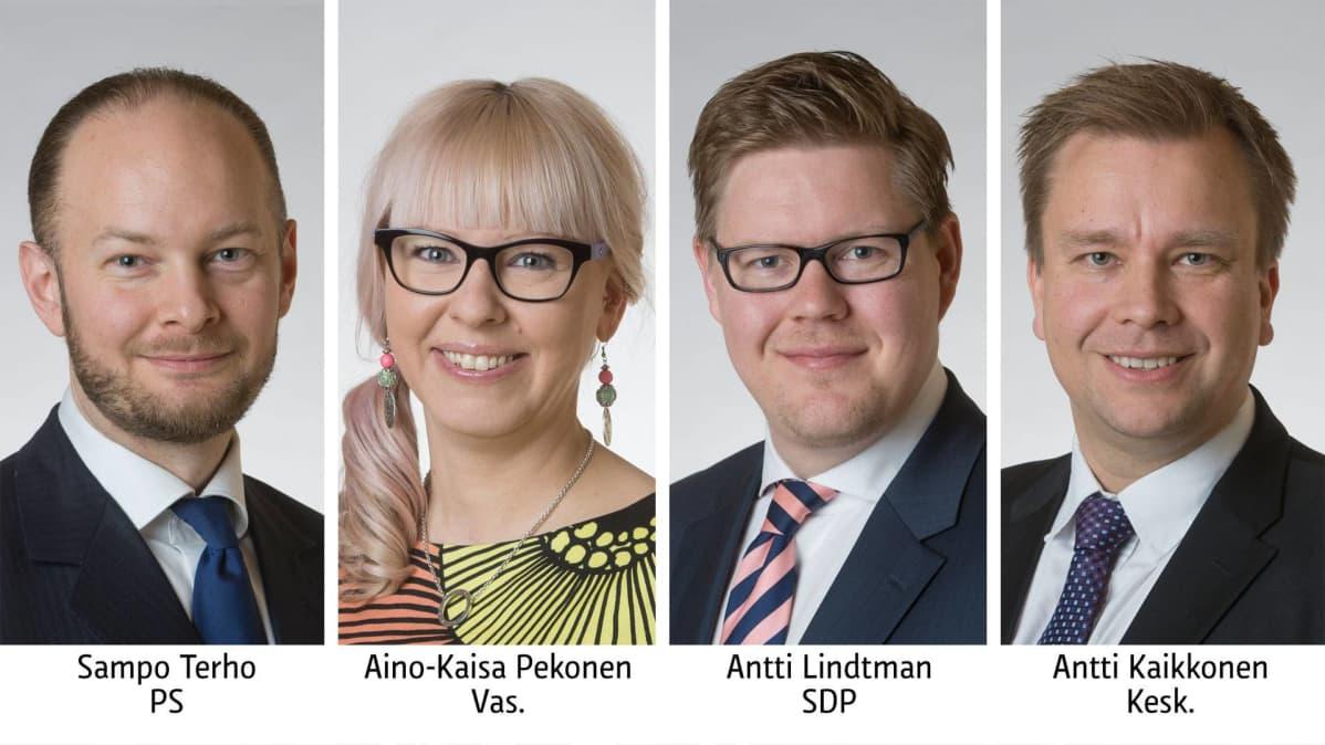 Sampo Terho PS, Aino-Kaisa Pekonen Vas, Antti Lindtman SDP, Antti Kaikkonen Kesk.