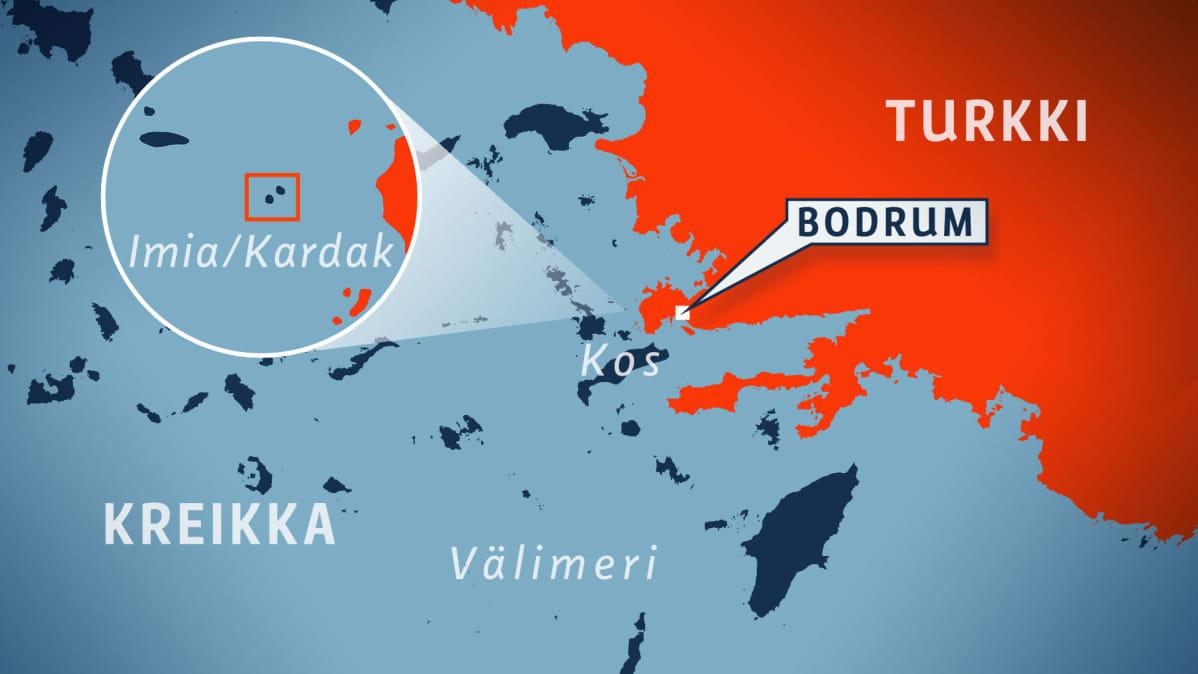 Kartta, jossa näkyy Imia/Kardak -saariparin sijainti Välimerellä.