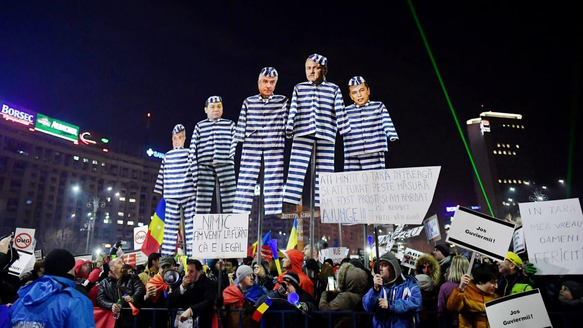 Mielenosoitus Bukarestissa.