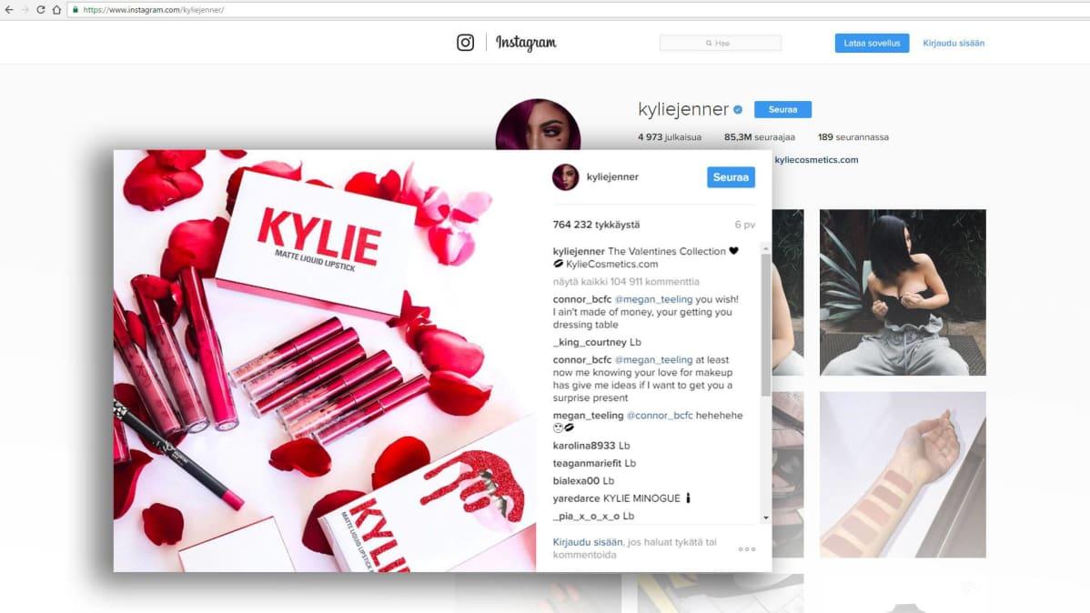 Kuvakaappaus Kylie Jennerin instagram-tililtä.