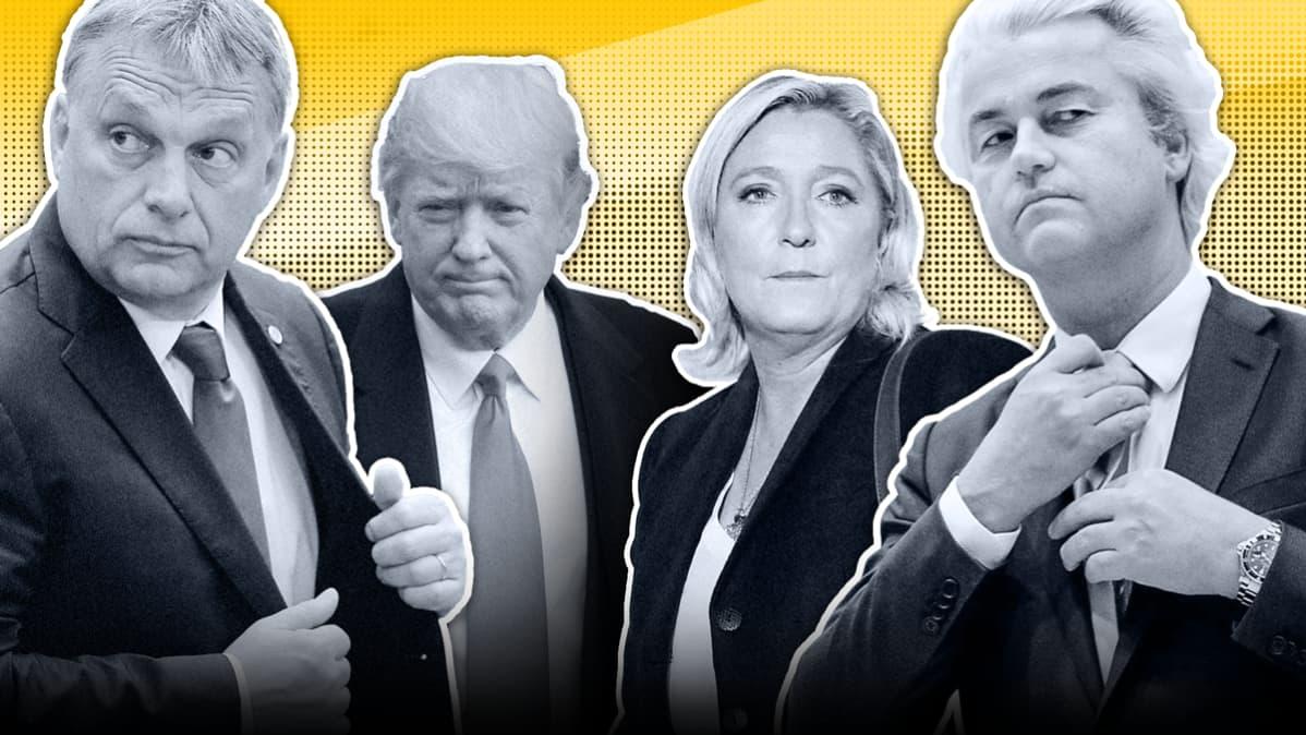 Kuva, jossa vasemmalta lukien Viktor Orban, Donald Trump, Marine Le Pen ja Geert Wilders.