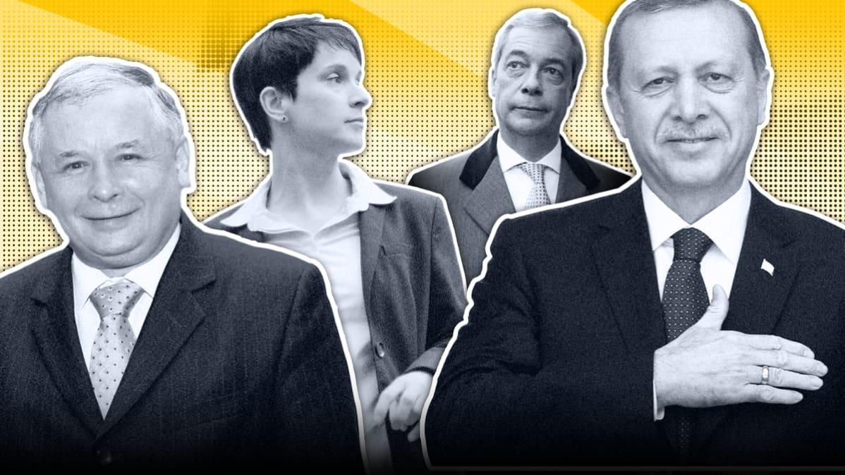 Kuva, jossa vasemmalta lukien Jarosław Kaczyński, Frauke Petry, Nigel Farage ja Recep Tayyip Erdoğan.