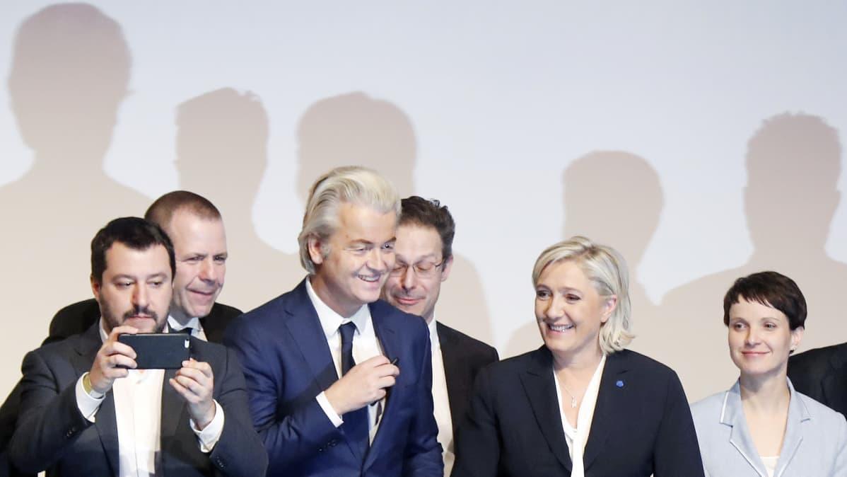 Matteo Salvini, Harald Vilimsky, Geert Wilders, Marcus Pretzell, Marine Le Pen ja Frauke Petry