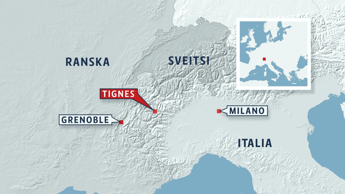 Kartta Alppien alueelta