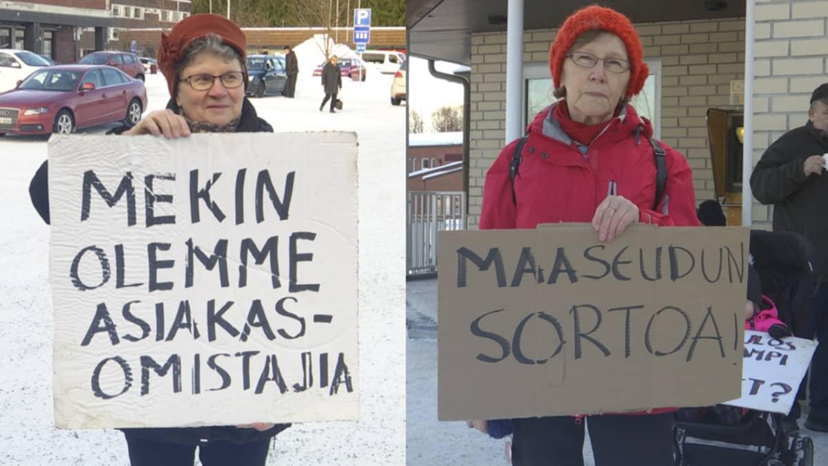 Vanhukset mielenilmaisussa Osuuspankin konttorin edustalla.