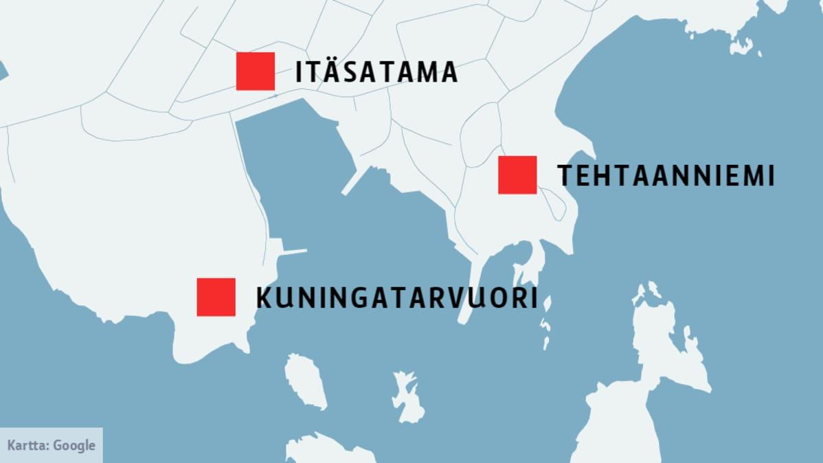 Kartta, jossa Itäsatama, Tehtaanniemi ja Kuningatarvuori.