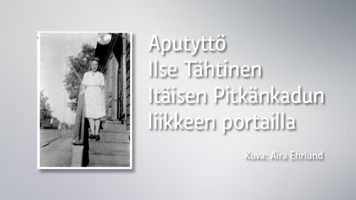Grafiikka, jossa vanha mustavalkoinen valokuva naisesta, joka seisoo portailla.