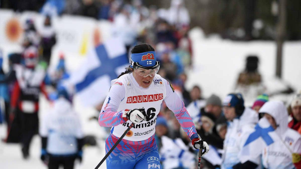 Krista Pärmäkoski kilpaili naisten perinteisessä 10 km matkalla tiistaina 28. helmikuuta.
