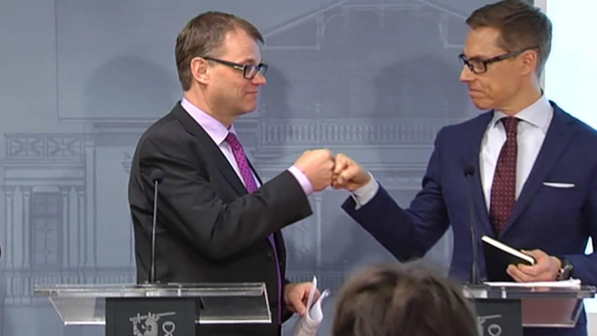 Juha Sipilä Alexander Stubb yhteiskuntasopimusneuvottelut 2.3.2016Kesäranta