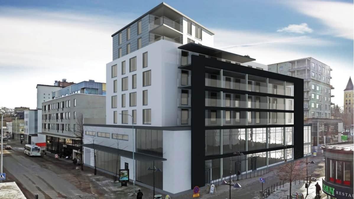 Havainnekuva siitä, millainen talo Danske Bankin paikalle voisi tulla Lappeenrannassa.