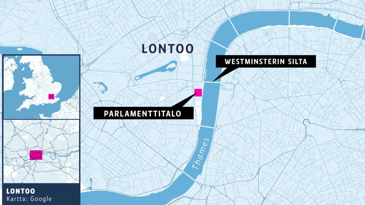 Lontoon kartta, Parliamenttitalo, Westminsterin silta