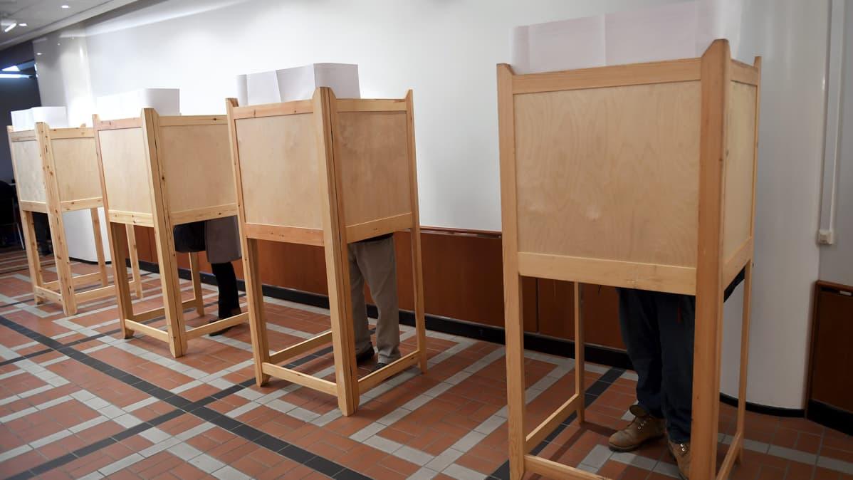 Äänestyskoppeja Helsingissä 29. maaliskuuta 2017.