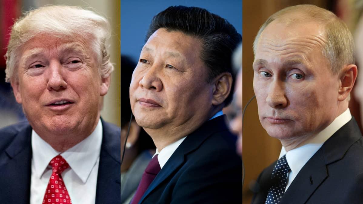 Yhdysvaltain presidentti Donald Trump (vas.) ja Kiinan presidentti Xi Jinping ja Venäjän presidentti Vladimir Putin.