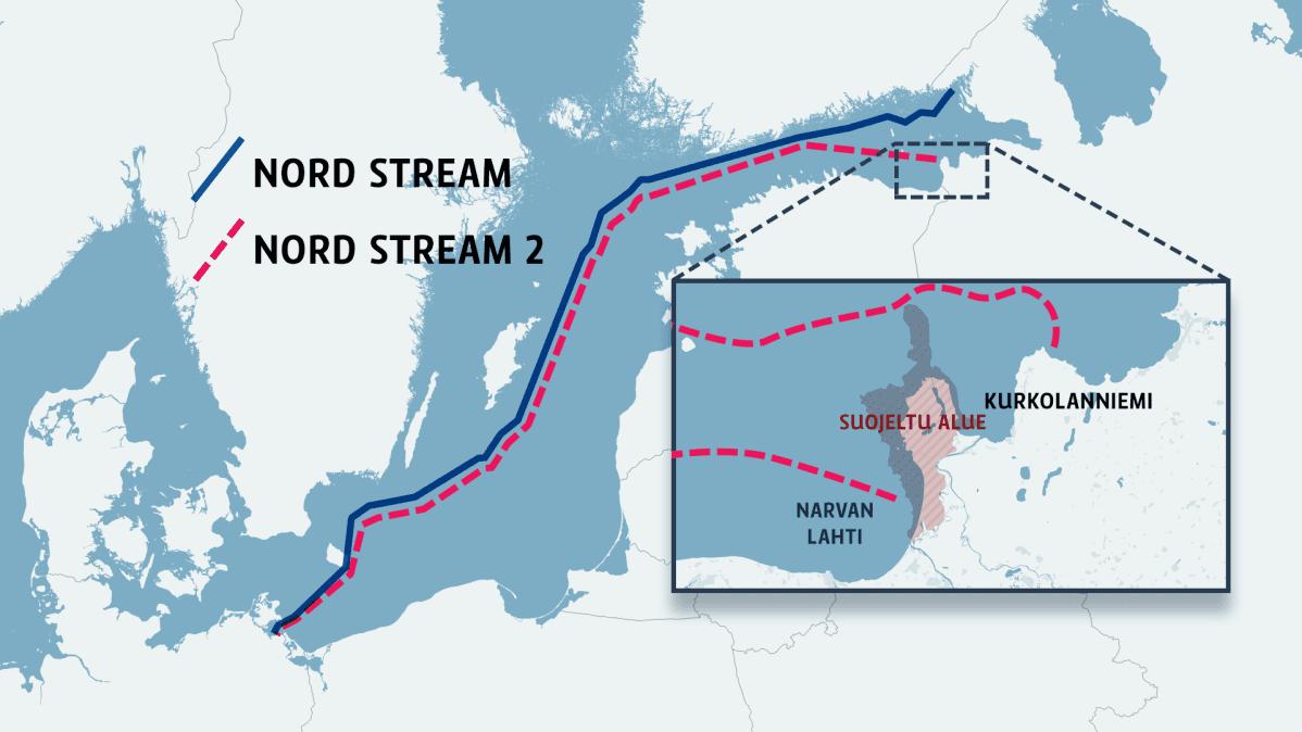Karttagrafiikka Nord Stream -kaasuputkien reiteistä.