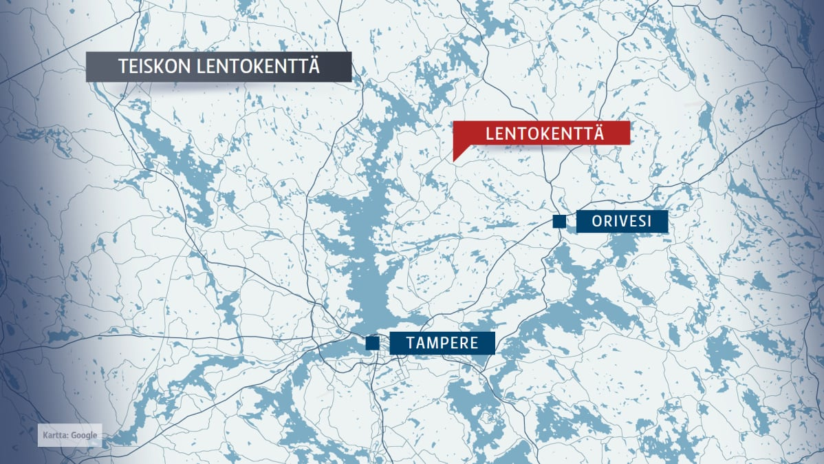 Karttagrafiikka Teiskon lentokentästä.