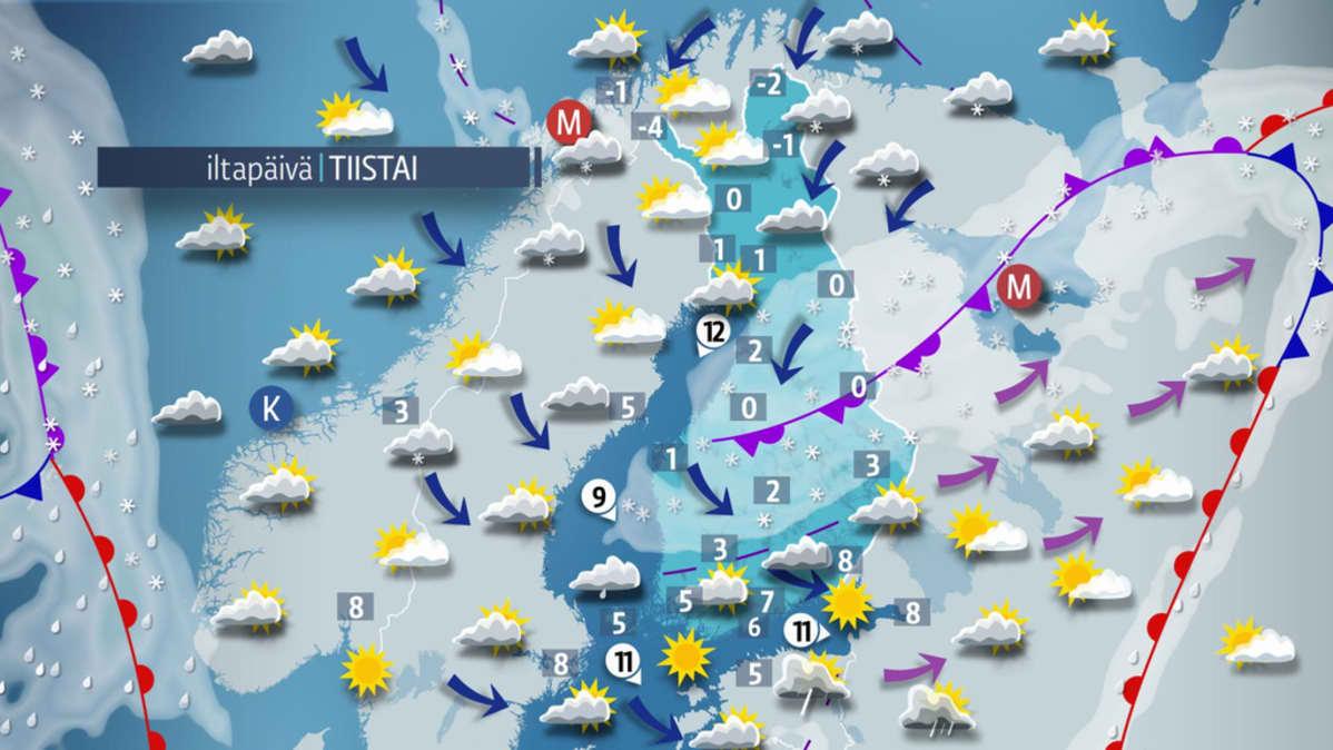 Päivän sääkartta tiistaille 11. huhtikuuta.