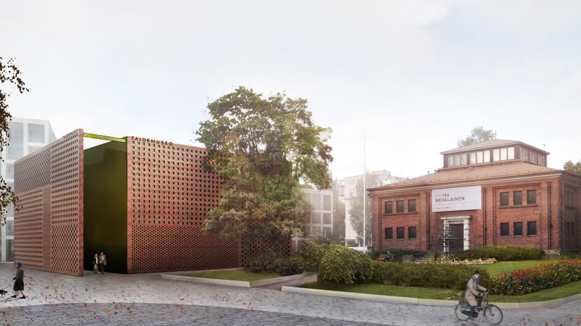 Havainnekuva Tampereen taidemuseon suunnittelukilpailutyöstä Kivikaverit
