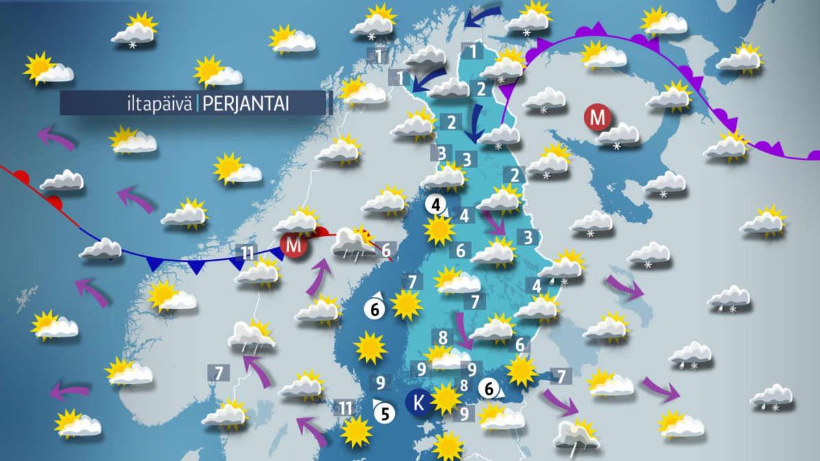 Sääkartta perjantaille 12. toukokuuta.