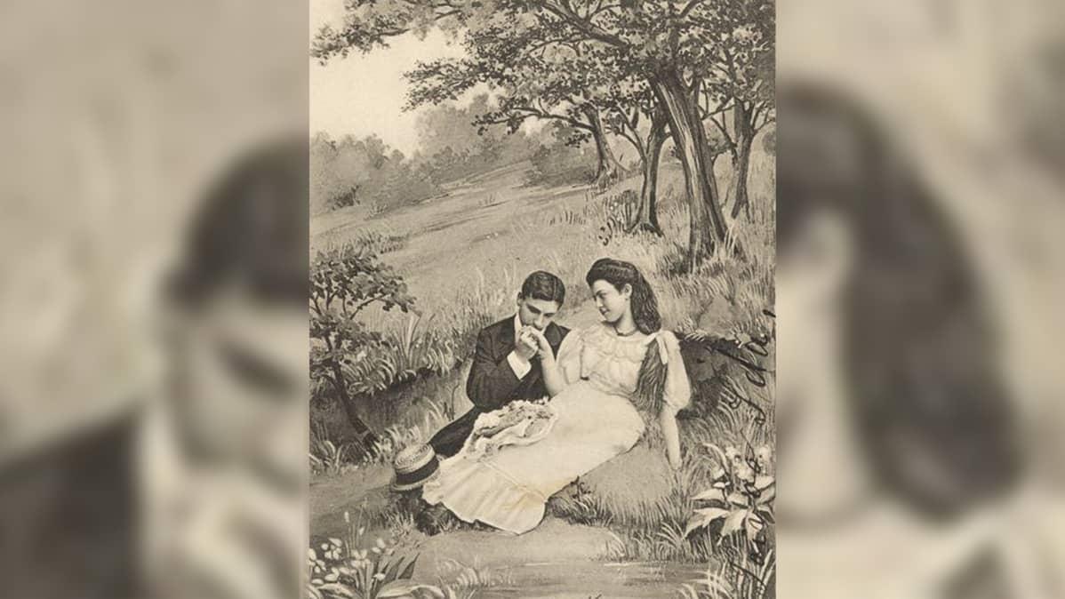 Mies ja nainen niityllä piirroskuvassa.
