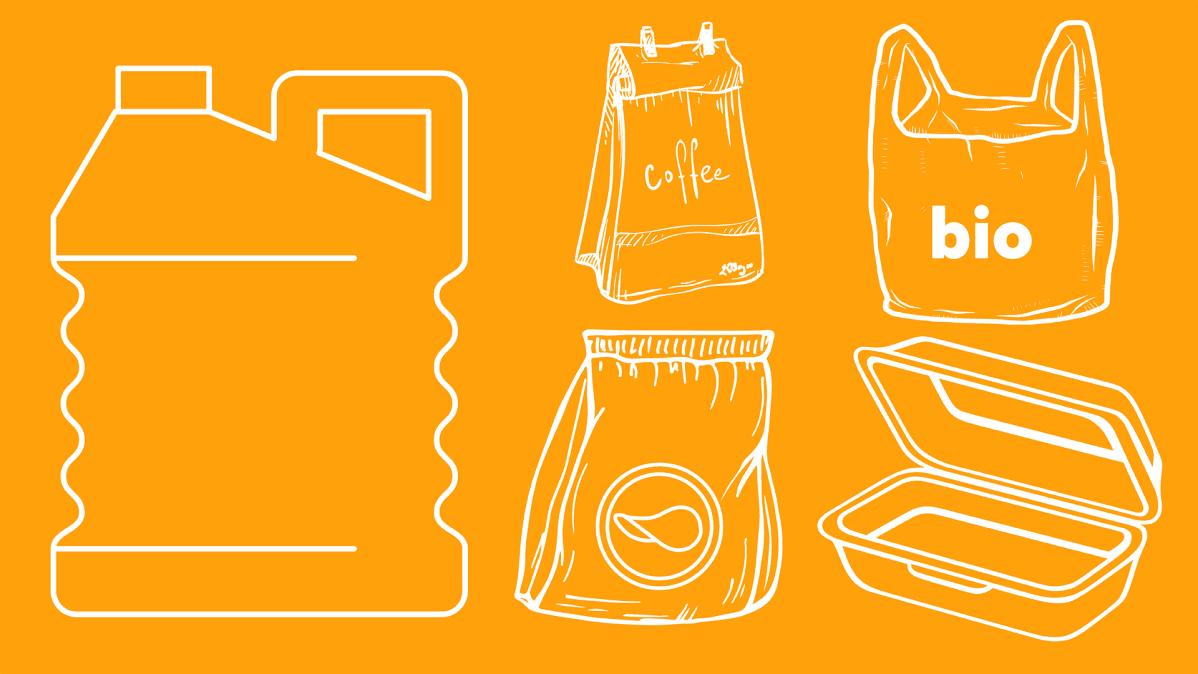 Grafiikka, jossa muovipakkauksia.