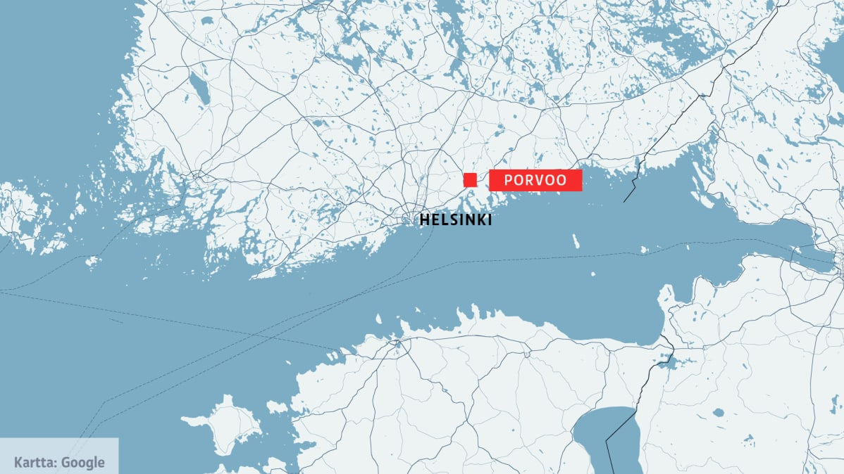 Kartta, jossa on merkitty Porvoo ja Helsinki.