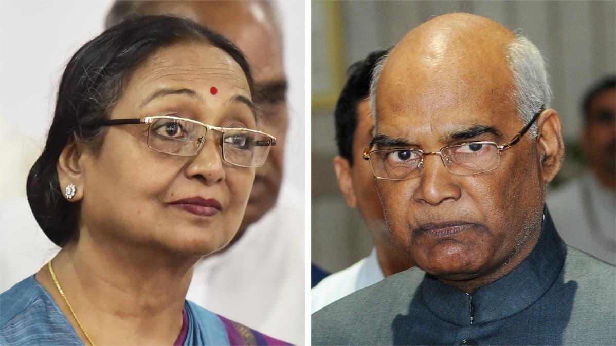 Ehdokkaat Meira Kumar ja Ram Nath Kovind.