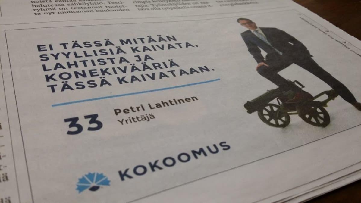 Satakunnan Kansassa ilmestynyt vaalimainos kuntavaaleissa 2017, Petri Lahtinen (kok.) kokoomus yrittäjä konekivääri mainonta