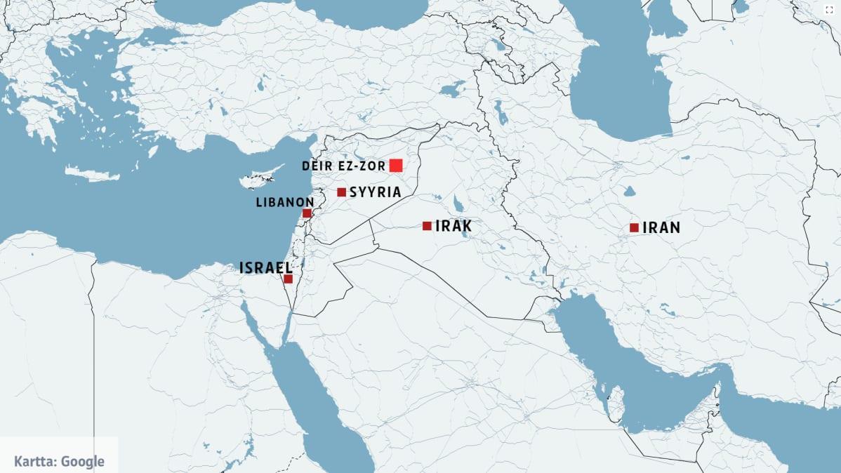 Kartta, johon on merkitty maat Iran, Irak, Israel, Libanon ja Syyria.