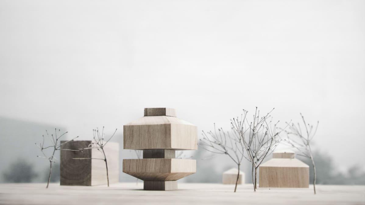 Pienoismalli Tamperen taidemuseon uudesta rakennuksesta