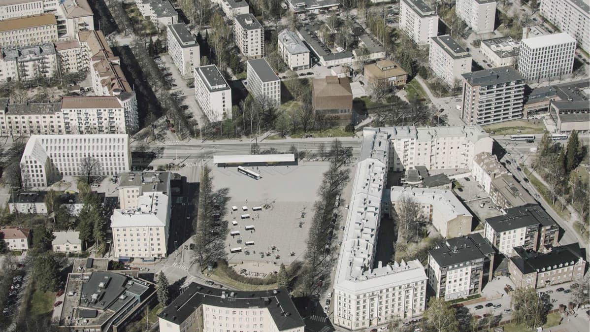 Havainnekuva Tampereen taidemuseon alueen uusista suunnitelmista