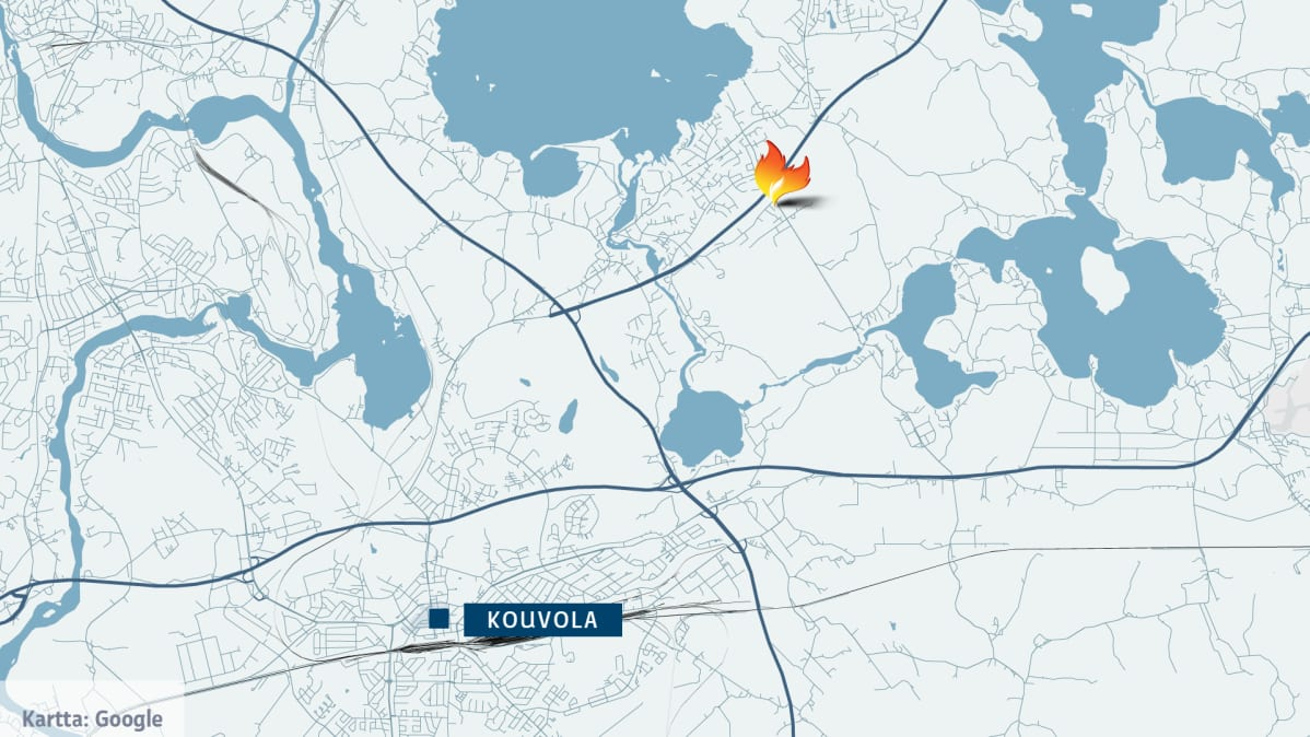 Kartta, jossa näkyy Kouvolan ohella tulipalon merkki Valkealan Jyrääntiellä.
