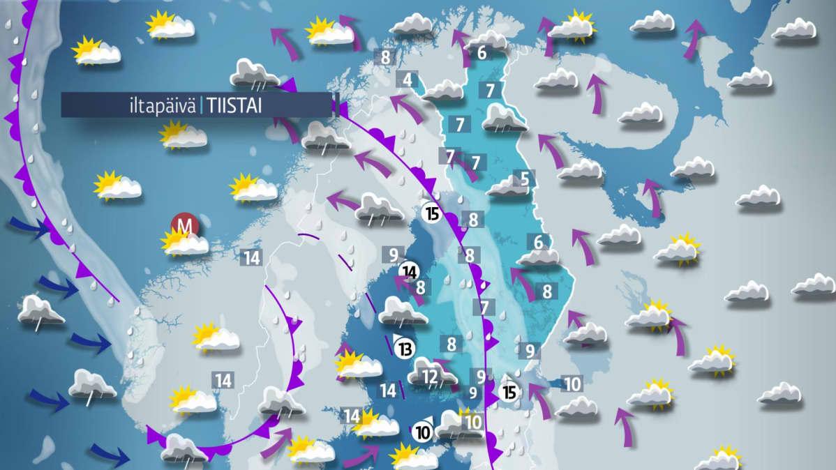 Sääennuste tiistaille 3. lokakuuta.