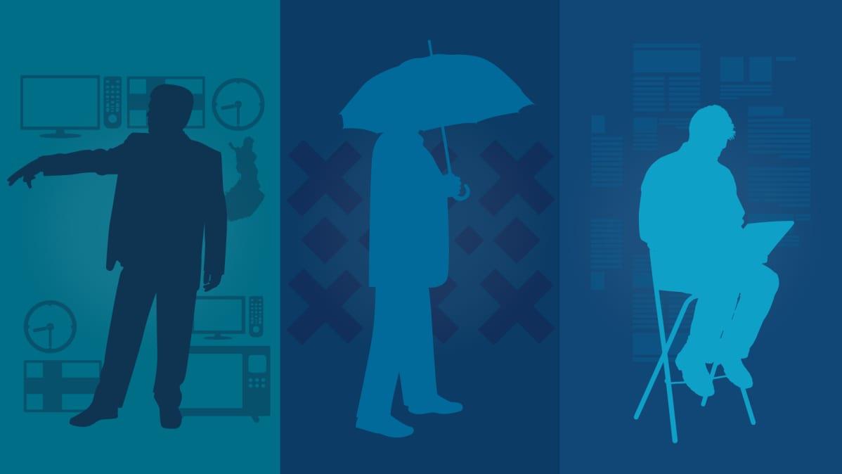 Kuvituskuva, jossa on kuvattu kolme eri arvotyyppiä