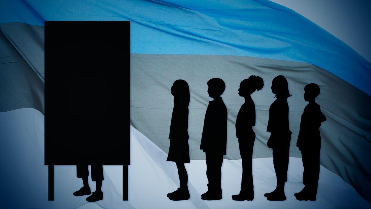 Silhuettikuva nuorista jonottamassa äänestyskoppii, taustana Viron lippu.
