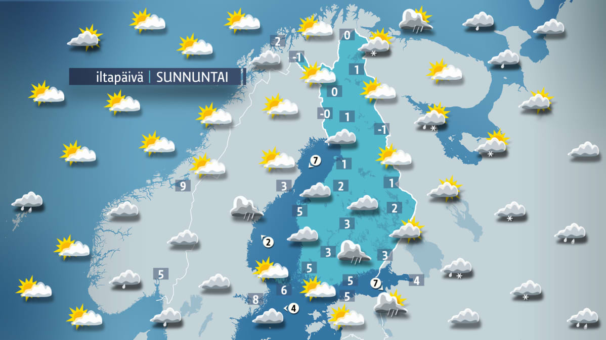 Sääkartta sunnuntaille 22. lokakuuta.
