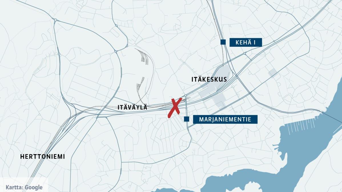 Kartta Itäväylä