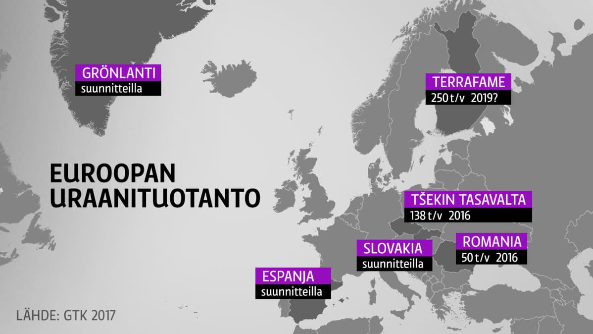 Euroopan uraanituotanto-kartta