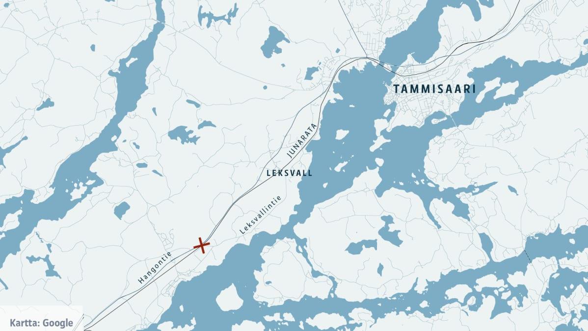 Onnettomuuspaikka kartalla.