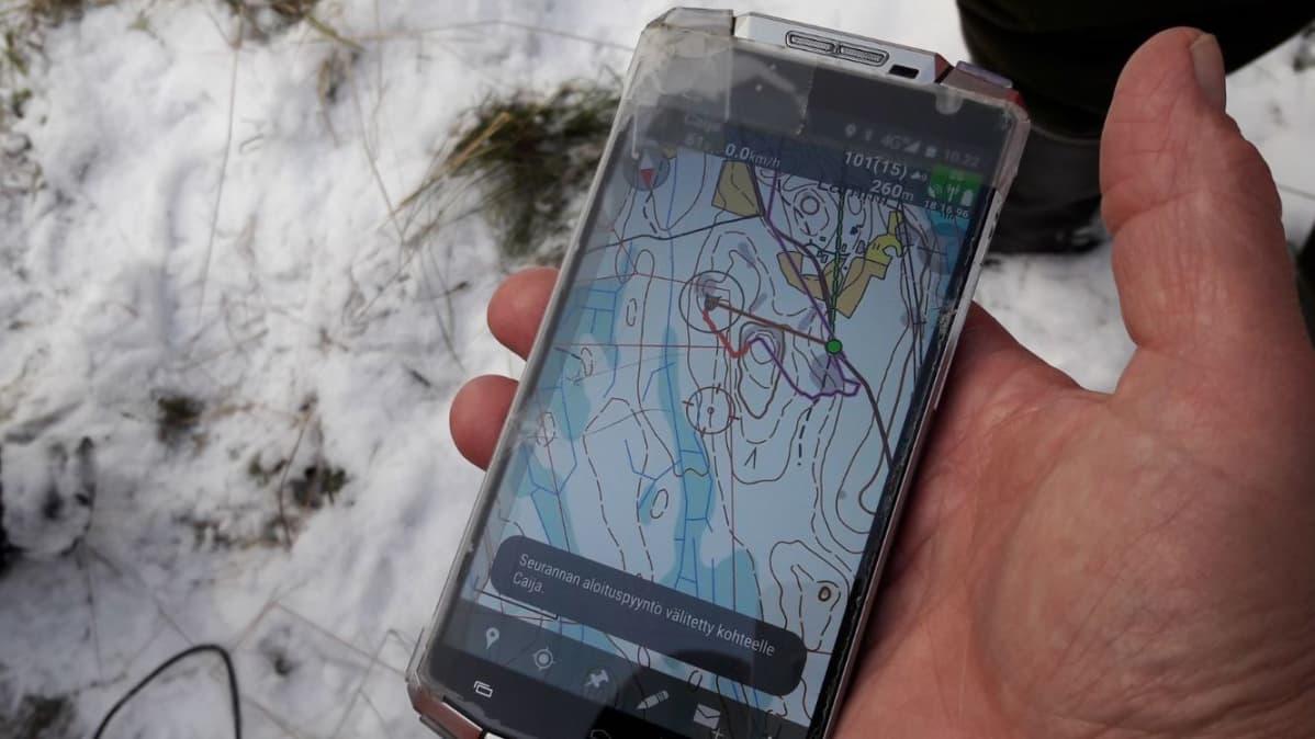 Koiran tutkapannan tietoa kännykän karttaohjelmassa.
