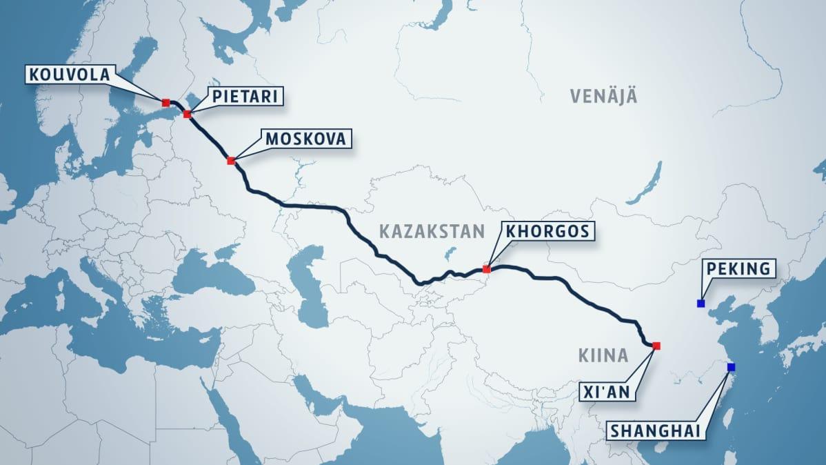 Kartta, jossa näkyy rautatiereitti Kouvolasta Kazakstanin halki Kiinaan.