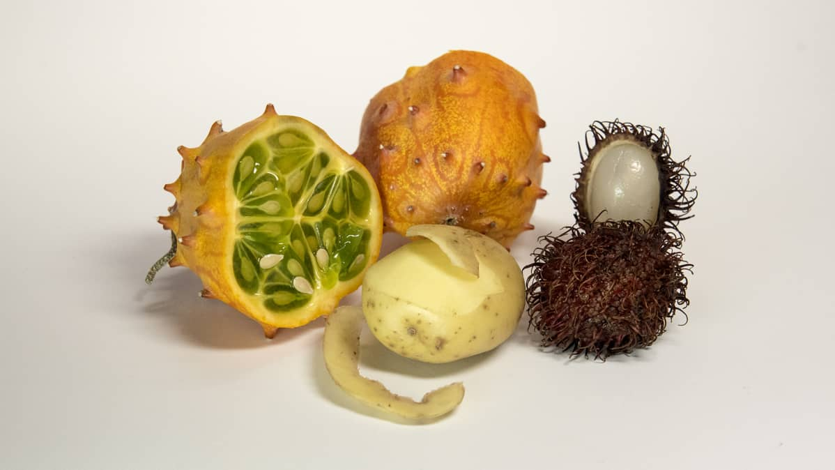 Sarvimeloni, peruna ja rambutaani.