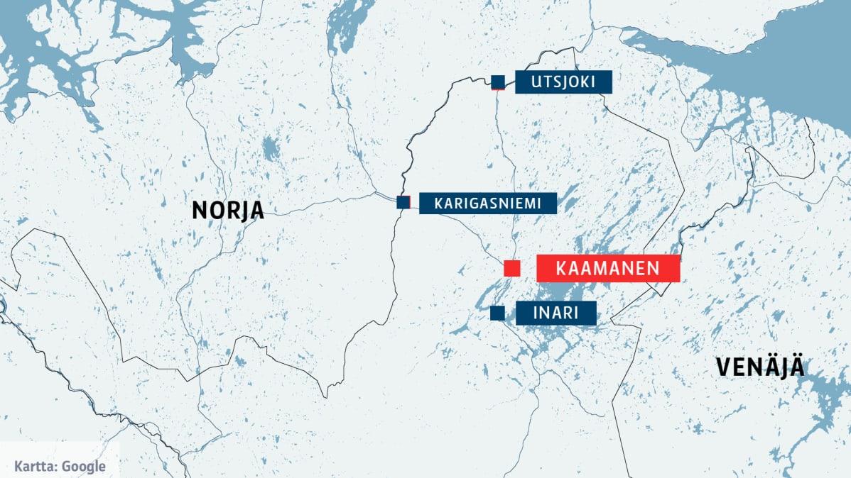 Kartta, Kaamanen, Inari ja Utsjoki