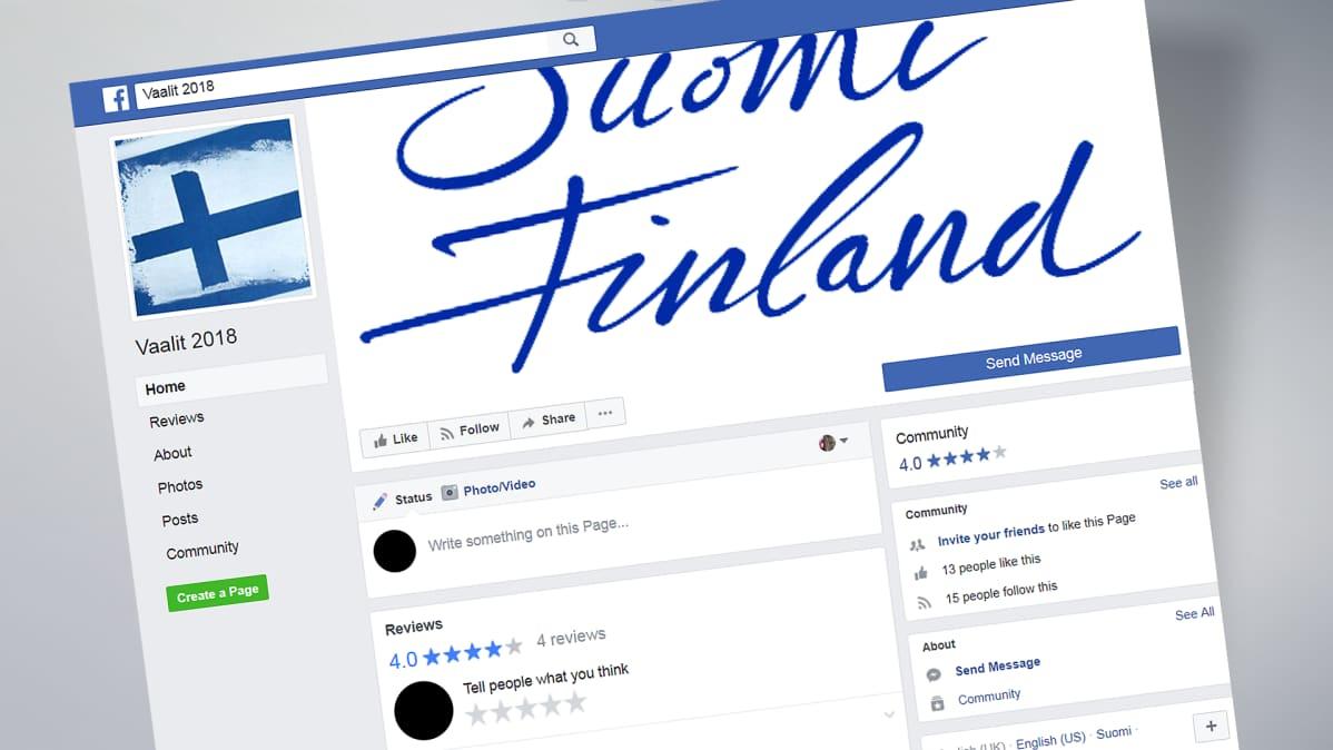 Kuvakaappaus Vaalit 2018 -Facebook-sivulta.