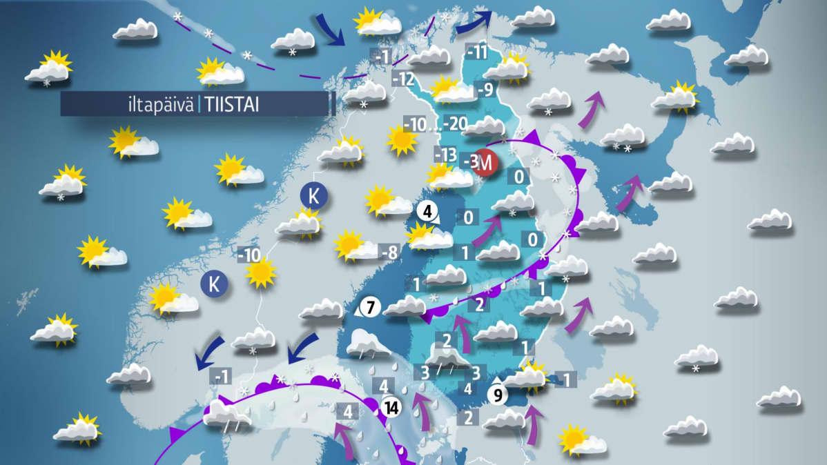 iltapäivän sääkartta.