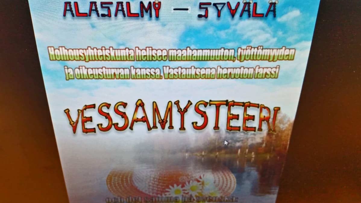 Päivi Alasalmen ja Maria Syvälän (nyk. Asunnan) näytelmän Vessamysteeri juliste.