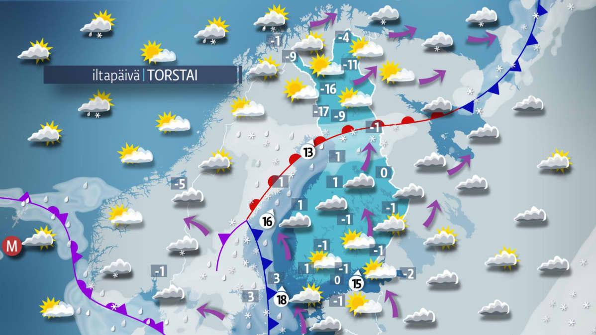 Sääkartta torstaille 14. joulukuuta.