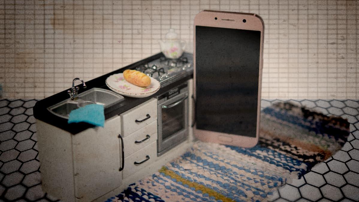 Kuvituskuva, jossa kännykkä seisoo keittiössä.