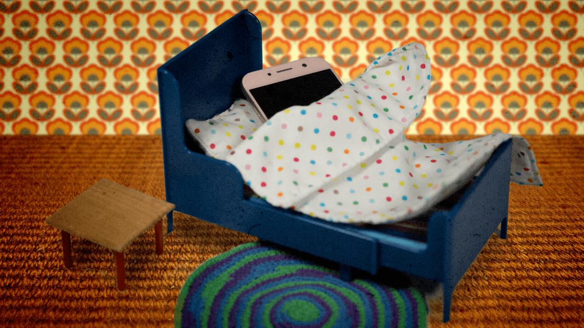Kuvituskuva, jossa kännykkä nukkuu sängyssä.